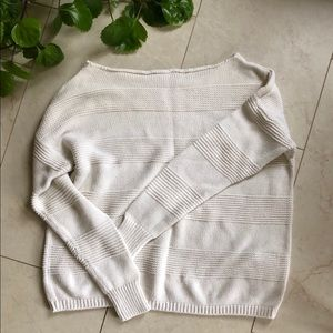 Slouchy off-shoulder knitted sweater